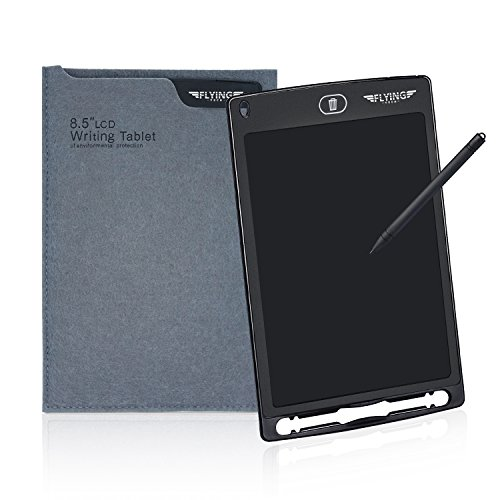 FLYINGTECH 8.5 inch LCD Writing Tablet With Sleeve Durable Drawing and Writing Board eWriter Doodle Pad Message Board Gifts for Kids&Friends. (Black+Case)