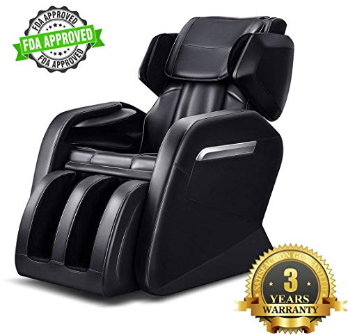 KissDate Massage Chair, Zero Gravity Electric Full Body Shiatsu Massage Chair Recliner with Heater, Footroller and Vibrating Black
