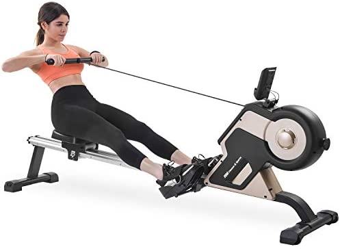 Merax Rowing Machine Indoor Home Rower Magnetic Rowing Machine with Magnetic Tension System, LED Monitor and 8-Level Resistance Adjustment Fitness Equipment for Home Gym Exercise