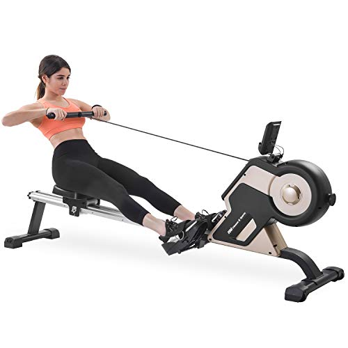 Merax Magnetic Rowing Machine Compact Indoor Rower Home Rowing Machine with Magnetic Tension System, LED Monitor and 8-Level Resistance Adjustment Fitness Equipment for Home Gym