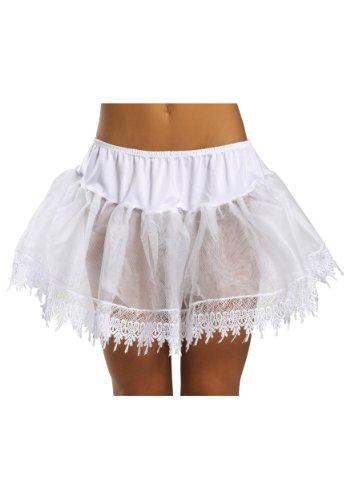 Sexy White Teardrop Lace Petticoat Crinoline Skirt Slip One-Size Regular
