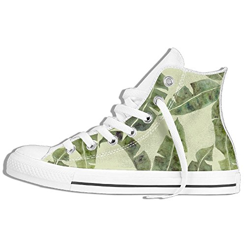 Classic High Top Sneakers Canvas Shoes Anti-Skid Tree Leaves Casual Walking For Men Women White CHCUJwr50e