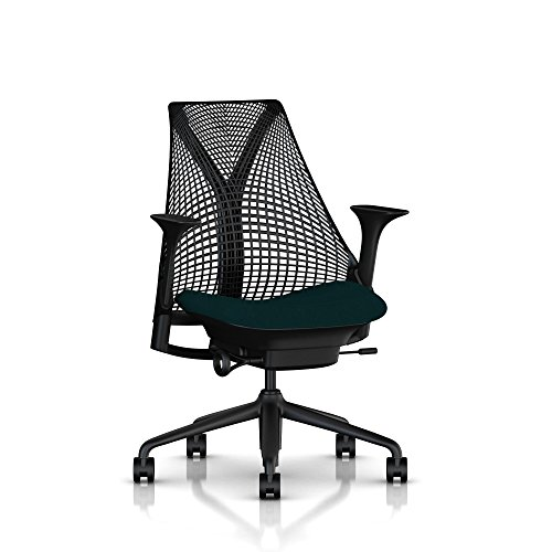 Herman Miller Sayl Ergonomic Office Chair with Tilt Limiter and Carpet Casters | Stationary Seat Depth and Arms | Black Frame with Aquamarine Crepe Seat