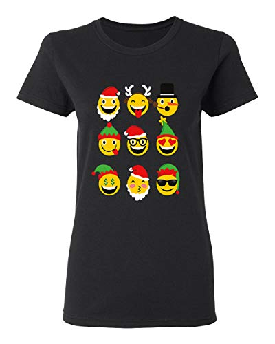 (Christmas Animated Emoji Faces T-Shirt for Women Crew Neck Tee)