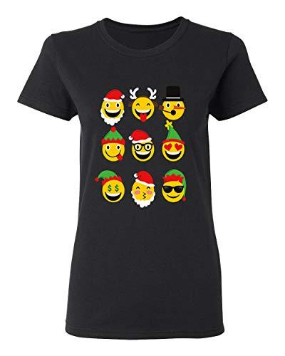 Christmas Animated Emoji Faces T-Shirt for Women Crew Neck Tee Shirt(Black,3X-Large)]()