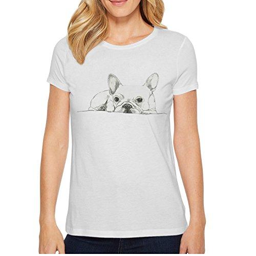 xs4tdg563kfu French Bulldog Sketch Womens Short Sleeve T-Shirt Cute Printed Short Sleeve T-Shirt (Best Mini Labradoodle Breeders)