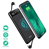 Wireless Portable Charger, SANAG 10000mAh Fast Qi Wireless Power Bank with 10W Power Delivery, Type-C, QC 2.0 Ports and LED Displaly External Battery Pack for iPhone, iPad, Samsung and More