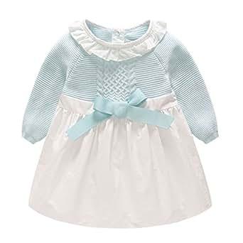 Vestido Bebé Niña - Niño Bebé Chica Vestido Ropa Manga Larga Fiesta Bowknot Vestidos de Princesa Ropa Bebe Niña Recién Nacido Mini Vestido, 0-6 Meses