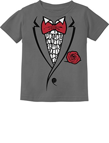 Tstars Printed Ruffled Tuxedo Suit With Red Bow Tie Boys Toddler/Infant Kids T-Shirt 4T Dark Gray