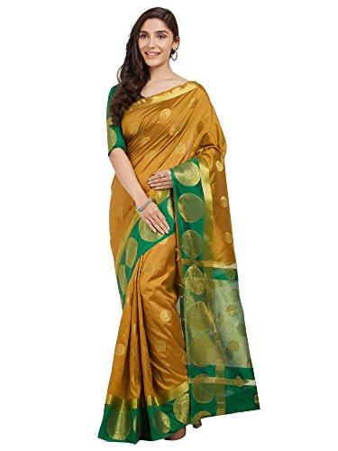 Mustard Saree - Viva N Diva Sarees for Women's Mustard Banarasi Silk Saree with Un-Stiched Blouse Piece,Traditional Sari