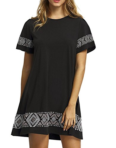 Dress Shift Embroidered Black (Floerns Women's Casual Embroidered Short Sleeve Swing Tunic T Shirt Dress Black XXL)