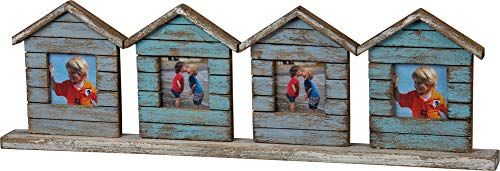 Primitives by Kathy Photo Frame - Weathered Wood Beach House Theme - Holds 4 Photos - 20.5 inch Wide x 6 inch high