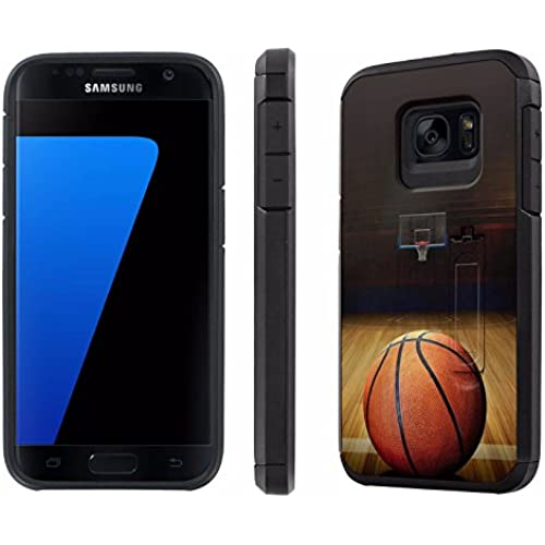 Galaxy [S7] [5.1 Screen] Defender Hybrid Case [SlickCandy] [Black/Black] Dual Layer Protection [Kick Stand] [Shock Proof] Phone Case - [BasketBall] for Samsung Sales