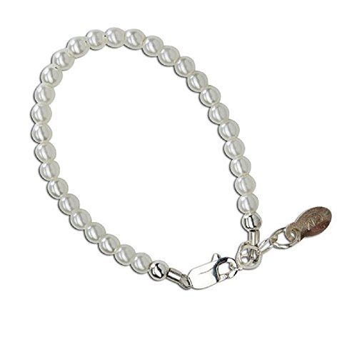 Precious sterling silver bracelet with intricate dainty little white Swarovski pearls - perfect for baptisms or christenings! Size Medium 1-5 Years