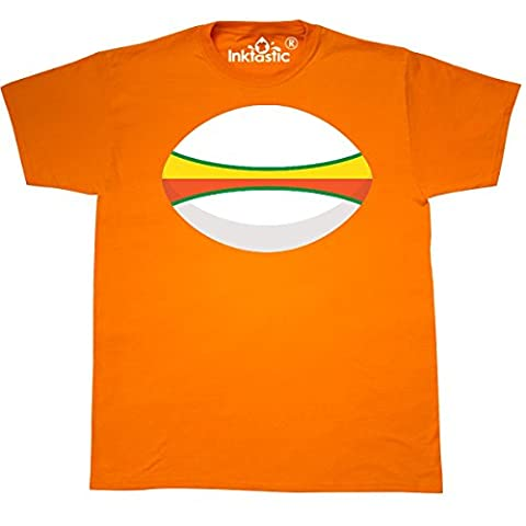 Inktastic - Rugby Ball sports T-Shirt Small Safety Orange - 761 Rugby