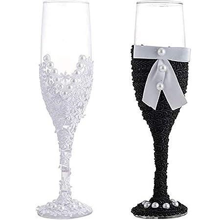 LONGBLE Set di 2 bicchieri da champagne lavorati a mano, da sposa, per matrimonio, matrimonio a