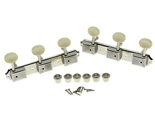 Dopro Nickel w/Aged White 3 per side 3x3 on a Plate Vintage Guitar Tuning Keys for Epiphone LP JR