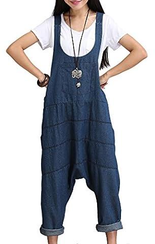 IDEALSANXUN Women's Haren Denim Long Wide Leg Bib Overalls Jumpsuits Baggy Pants Plus Size Blue (Medium, Blue)