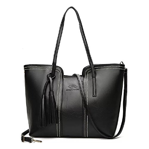 Tote Leather Purses Handbags BagSoft Black Crossbody Capacity Fashion Bag Shoulder Satchel and bag Large Women PCqgIw