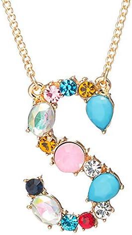 Gemstone Monogram Necklace Pendant Initial