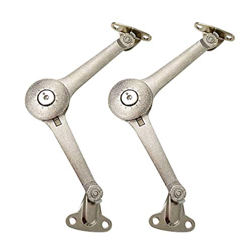 TLBTEK Lid Stay Hinge in Satin Nickel,Cabinet Lid Support Hinge Set Heavy Duty, Safety Toy Box Hinges Soft Close,Support Drop Lids of Cupboard for Kitchen Cabinets Door Box, Toy Chest,Wardrobe Doors