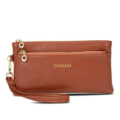 ZOOEASS Women Vegan Leather Wristlets Bag, Clutch Organizer Wallets Purses for iPhone(Brown Long)