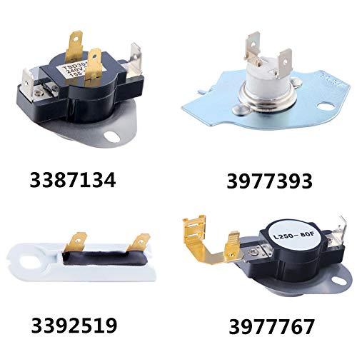 3387134 Dryer Thermostat 3977767 Cycling Thermostat 3977393 Thermal Fuse 3392519 Dryer Thermal Fuse Kit Replaces 3399693, WP3977767VP, PS345113, WP3977393, AP6008325, 3391693, PS345113 (Thermostat Kenmore)