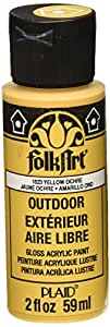 FolkArt Outdoor Acrylic Paint in Assorted Colors (2 Ounce), 1623 Yellow Ochre