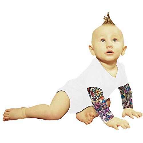 Wild Rose Tattoo Sleeve Baby One-Piece Shirt, White, Salvation, 12-18 Months
