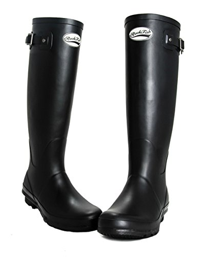 AWARD WINNING BOOTS, knee-high, ladies wellington boots, natural rubber, calendered, cushioned insole, Size 3, FREE DELIVERY Black