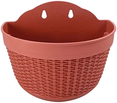 [해외]NATFUR 1PCS Semi-Circular Flower Pot Creative Plastic Green Plants Basket Basin Holder | Color - Red / NATFUR 1PCS Semi-Circular Flower Pot Creative Plastic Green Plants Basket Basin Holder | Color - Red