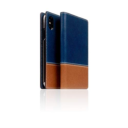 [SLG DESIGN] D+ Italian Temponata Leather case for iPhone X/XS I Italian Premium Leather Flip Folio Book Case Wallet Cover with Feature Card Slots Compatible with iPhone X/XS (Blue X Tan) ()