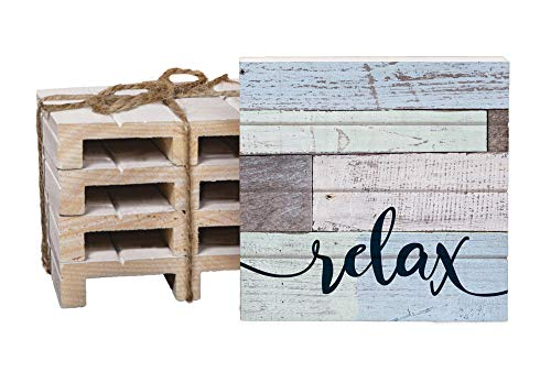 Relax Blue Green Lath Look 4 x 4 Inch Dried Pine Wood Pallet Coaster, Pack of 4