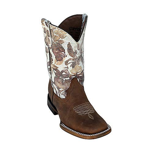 Ferrini Kids Chocolate Cowhide Leather S-Toe Cowboy Boots 9