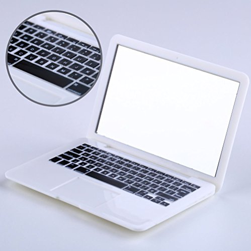 MakeupAcc® White Silver Portable Apple Macbook Air Makeup Compact Mirror Woman Cosmetic Handbag (Silver)
