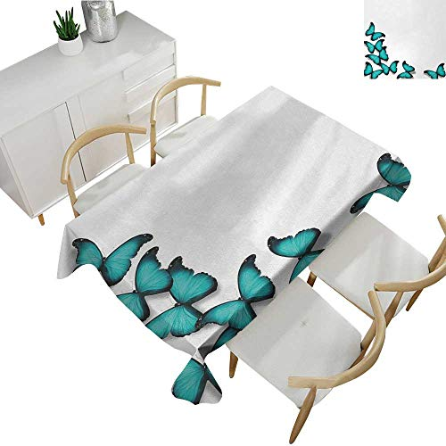 Turquoise,Table Covers Butterflies Morphs Pattern Spring Sunny Day Warm Weather Free Enjoyment Rectangular Polyester Tablecloth Black Turquoise 70