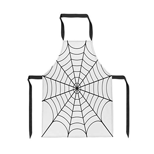 Pinbeam Apron Spider of Cobweb Spiderweb Halloween Net Haloween Pattern with Adjustable Neck for Cooking Baking Garden for $<!--$18.99-->