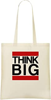Notorious Big Think BIG - Notorious Big Think BIG Custom Printed Shopping Grocery Tote Bag 100% Soft Cotton Eco-Friendly & Stylish Handbag For Everyday Use Custom Shoulder Bags