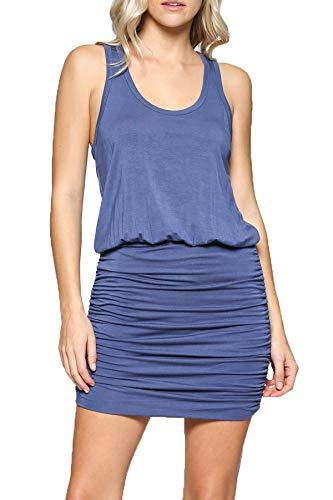 - LaClef Women's Mini Ruched Tank Shift Dress (Blue Jean, XS)