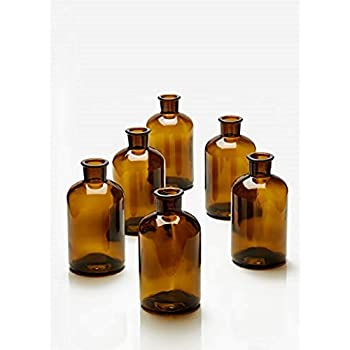 Serene Spaces Living Dark Amber Medicine Bottle Bud Vases, Set of 6, Antique Glass Bottles, 6.25