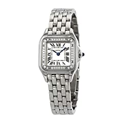 Stainless steel case with a stainless steel bracelet. Fixed stainless steel bezel set with 36 diamonds. Silver dial with blued-steel sword-shaped hands and Roman numeral hour markers. Minute markers around an inner ring. Dial Type: Analog. Qu...