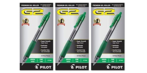 Pilot G2 Retractable Premium Gel Ink Roller Ball Pens Fine Pt (.7) 36 Pens Green; Retractable, Refillable & Premium Comfort Grip; Smooth Lines to the End of the Page, America's #1 Selling Pen Brand