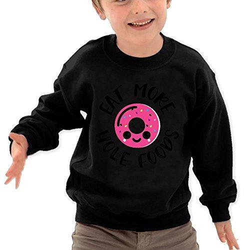 Puppylol Eat More Hole Foods Kids Classic Crew Neck Pullover Sweatshirt Black 2 Toddler