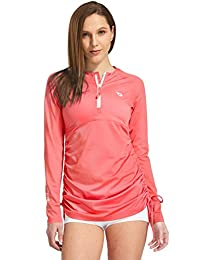Baleaf Women's Long Sleeve Half-Zip Sun Protection Rashguard Side Adjustable