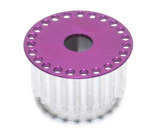 GPM Racing #HSPU705023TRP Aluminum - 7075 Rear Belt Front Pulley( 23t )with Brake Adaptor Purple for Serpent 705