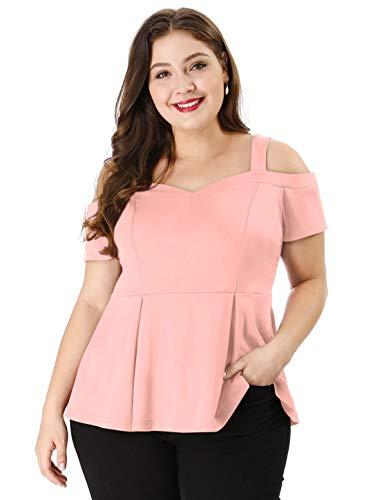 (uxcell Women's Plus Size High Waist Sweetheart Cold Shoulder Peplum Top 1X Pink)