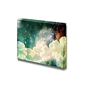 Beautiful Universe Outer Space Cloudscape with Clouds Stars and Moon with Distant Galaxies - Canvas Art Wall Art - 12
