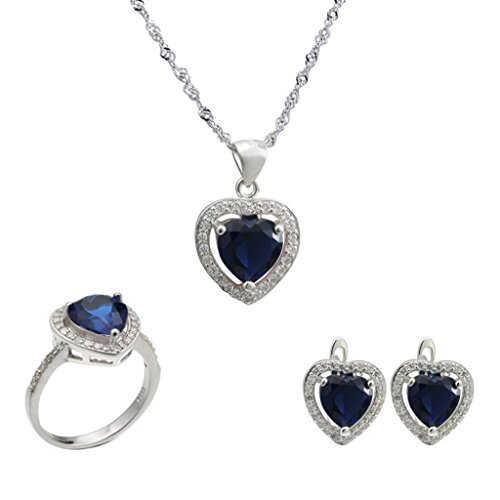 Aooaz Womens Jewelry Set, Heart Teardrop CZ Crystal Micro Pave CZ Wedding Ring Necklace Earrings Blue by Aooaz