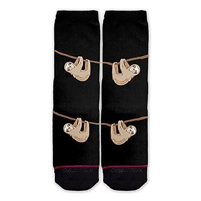 Function - Hanging Sloth Black Fashion Socks - 25, Hundredths-Pounds