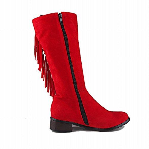 Carolbar Womens Plus Size Tassels Zip Rivet Vintage Low Heel Mid-Calf Boots Red lFBdxtZ3